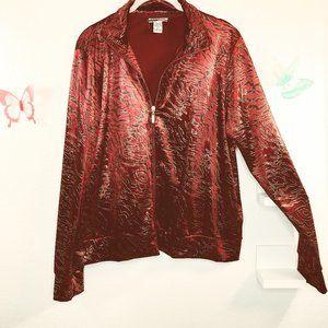Mirror Image Sz XL Velvet Dark Red & gold/black
